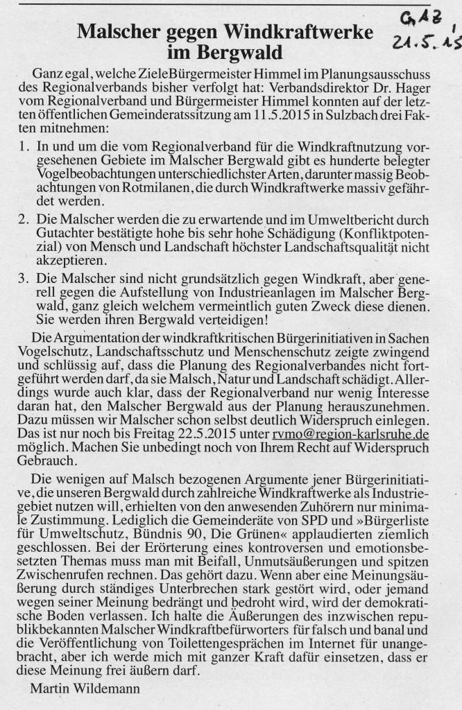 Leserbrief-Malscher gegen Windkraftwerke im Bergwald